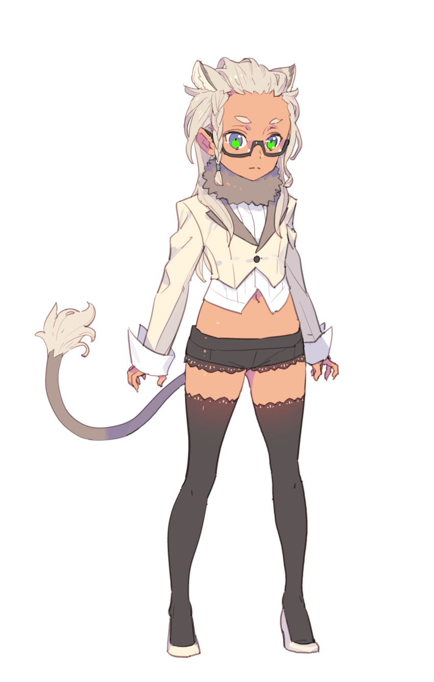 1girl absurdres animal_ears black-framed_eyewear black_legwear braid closed_mouth commentary_request copyright_request full_body fur_collar green_eyes highres long_sleeves looking_at_viewer midriff nagisa_kurousagi navel semi-rimless_eyewear shoes short_shorts shorts simple_background solo standing tail thigh-highs under-rim_eyewear white_background white_footwear