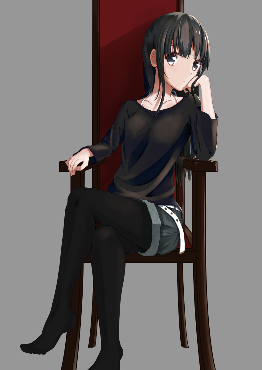 1girl absurdres belt black_hair black_legwear black_shirt brown_eyes chin_rest collarbone grey_background grey_shorts head_tilt highres legs_crossed long_hair looking_at_viewer original oriuo_q pantyhose pantyhose_under_shorts shirt short_shorts shorts sitting solo