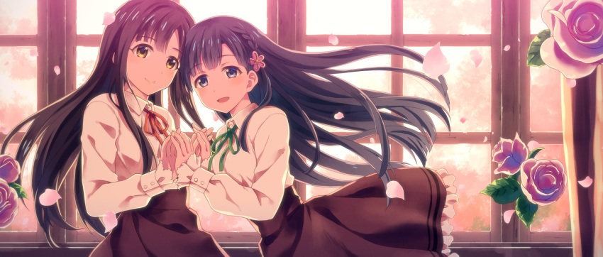 2girls aikurushii_(idolmaster) backlighting bangs black_hair blunt_bangs braid brown_eyes brown_hair commentary_request dress_shirt eyebrows_visible_through_hair flower frilled_skirt frilled_sleeves frills green_ribbon grey_eyes hair_flower hair_ornament hand_holding high-waist_skirt highres idolmaster idolmaster_cinderella_girls interlocked_fingers kobayakawa_sae long_hair long_sleeves looking_at_viewer mizumoto_yukari multiple_girls neck_ribbon open_mouth petals pink_flower pink_rose red_ribbon ribbon rose rose_petals shirt single_braid skirt smile upper_body window yuuki_tatsuya