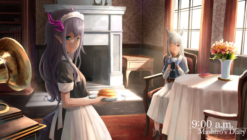 2girls absurdres animal_ears blue_gloves blush book boots brown_footwear chair closed_mouth food fox_ears gloves green_eyes grey_hair highres holding holding_plate indoors looking_at_another looking_at_viewer maid multiple_girls one_eye_closed original pancake phonograph plate pointy_ears purple_hair red_eyes sagiri_(ulpha220) short_sleeves sitting smile table tablecloth