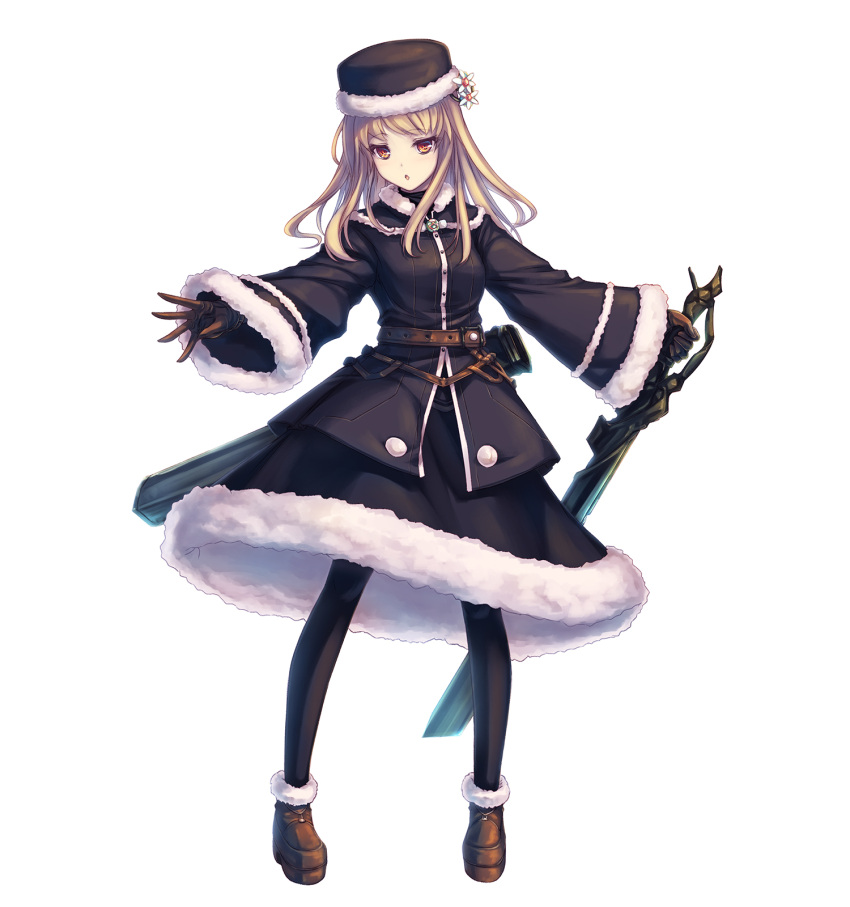 1girl bangs black_hat black_legwear black_skirt blonde_hair boots brown_eyes brown_footwear brown_gloves eyebrows_visible_through_hair floating_hair flower full_body fur_trim gloves hair_flower hair_ornament hat highres holding holding_sword holding_weapon long_hair open_mouth original outstretched_arms simple_background skirt solo sword tenmaso weapon white_background white_flower winter_clothes