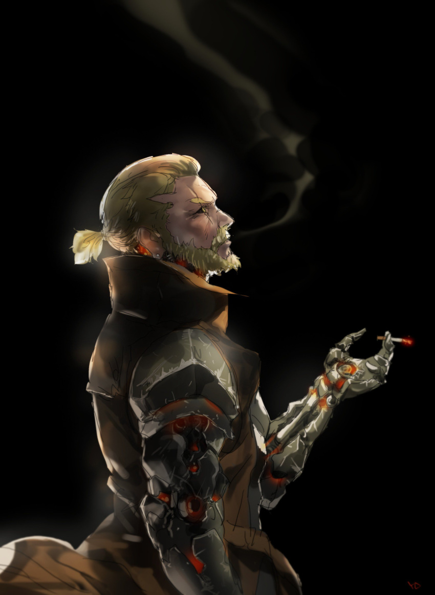 1boy absurdres beard black_sclera blonde_hair brown_coat cigarette coat commentary cyborg earrings english_commentary facial_hair from_side genos highres holding holding_cigarette jewelry looking_up male_focus mechanical_arm mustache older one-punch_man ponytail scar scar_across_eye signature smoke smoking solo upper_body yang-do yellow_eyes