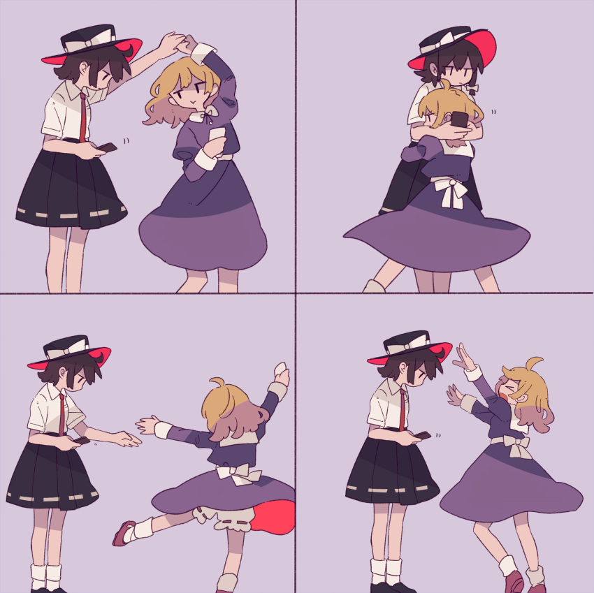 >_< 2girls 4koma :t absurdres ahoge black_hat black_skirt blonde_hair bow brown_hair cellphone comic commentary_request daizu_(melon-lemon) dancing dress hand_holding hat hat_bow hat_ribbon highres holding holding_cellphone holding_phone hug jitome long_hair looking_down maribel_hearn multiple_girls phone purple_dress ribbon shirt short_sleeves silent_comic skirt socks touhou usami_renko white_bow white_legwear white_ribbon white_shirt