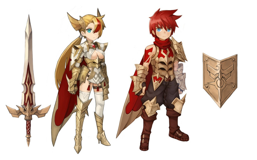 1boy 1girl aqua_eyes armor armored_boots armored_dress blonde_hair blue_eyes boots breasts brown_footwear brown_gloves brown_pants cleavage dress fingerless_gloves gloves headgear large_breasts long_hair looking_at_viewer mismatched_footwear multicolored_hair original pants ponytail red_shirt redhead shield shirt simple_background sookmo sword thigh-highs weapon white_background white_legwear