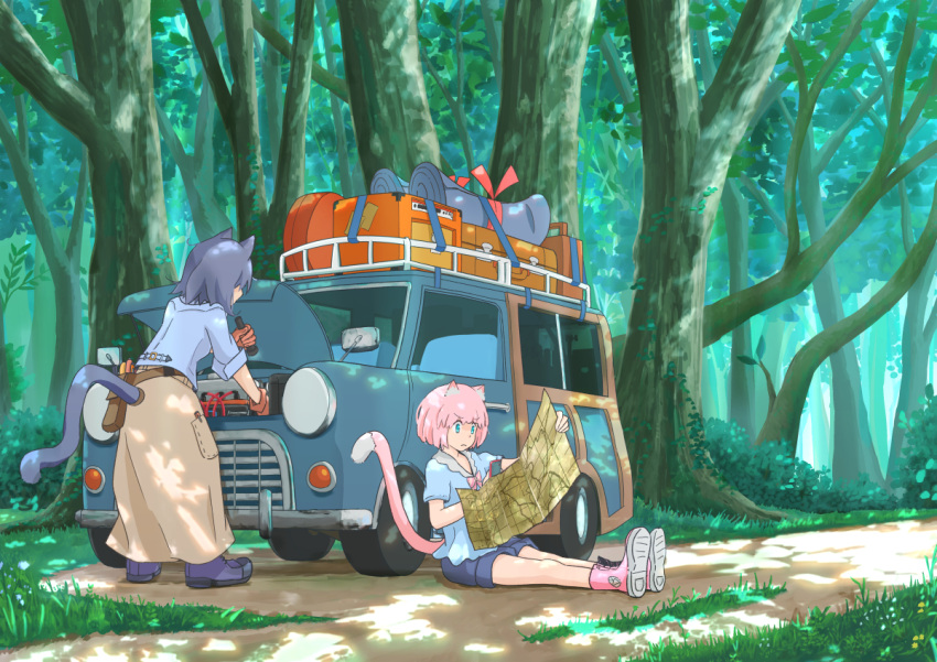 2girls 330_(330p) animal_ears blue_eyes blue_hair brown_gloves car cat cat_ears cat_tail closed_mouth dappled_sunlight denim denim_shorts flashlight forest frown gloves ground_vehicle holding_flashlight holding_map looking_away map motor_vehicle multiple_girls nature original outdoors pink_hair scenery shoes short_hair short_sleeves shorts sneakers sunlight tail