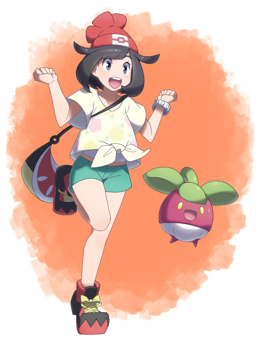 1girl :d bag bangs bare_arms beanie black_hair blue_eyes bob_cut bounsweet bracelet collarbone floral_print full_body gen_7_pokemon green_shorts handbag hands_up hat highres jewelry leg_up midoko mizuki_(pokemon) open_mouth pocket poke_ball_theme pokemon pokemon_(creature) pokemon_(game) pokemon_sm red_hat shirt shoes short_hair short_sleeves shorts smile sneakers standing standing_on_one_leg swept_bangs t-shirt teeth tied_shirt tongue yellow_shirt z-ring