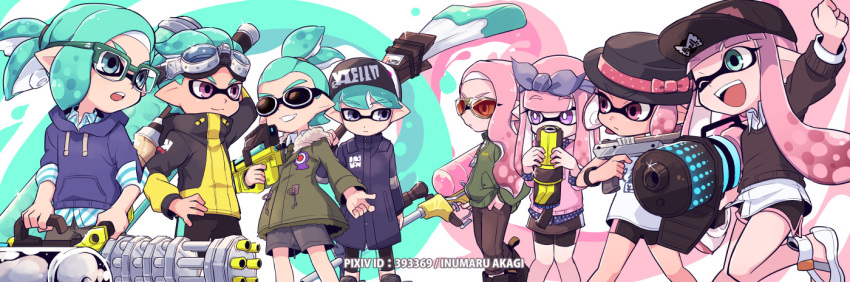 .52_gal_(splatoon) 4boys 4girls :| arms_up artist_name bangs baseball_cap black_coat black_footwear black_hat black_neckwear black_pants black_sweater blue_ribbon blue_shirt blunt_bangs bracelet brown_pants clenched_hand closed_mouth clothes_writing commentary_request domino_mask dress_shirt dynamo_roller_(splatoon) e-liter_4k_(splatoon) eyebrows_visible_through_hair glasses goggles goggles_on_head green-framed_eyewear green_coat green_eyes green_hair grey_shorts grin hair_ribbon hair_slicked_back hand_in_pocket hand_on_hip hat hat_ribbon heavy_splatling_(splatoon) hero_shot_(splatoon_2) holding holding_weapon hood hoodie inkling inkling_(language) inumaru_akagi jacket jewelry leg_up long_sleeves looking_at_another mask multiple_boys multiple_girls n-zap_(splatoon) necktie octobrush_(splatoon) one_eye_closed open_mouth over-rim_eyewear over_shoulder paint_splatter pants pink_eyes pink_hair pixiv_id pointy_ears ribbon scrunchie semi-rimless_eyewear shirt shoes short_ponytail shorts single_vertical_stripe smile sparkle splatoon splatoon_2 standing standing_on_one_leg sweater tan tentacle topknot violet_eyes weapon weapon_over_shoulder weapon_request white_footwear white_pupils white_shirt yellow-framed_eyewear yellow_jacket