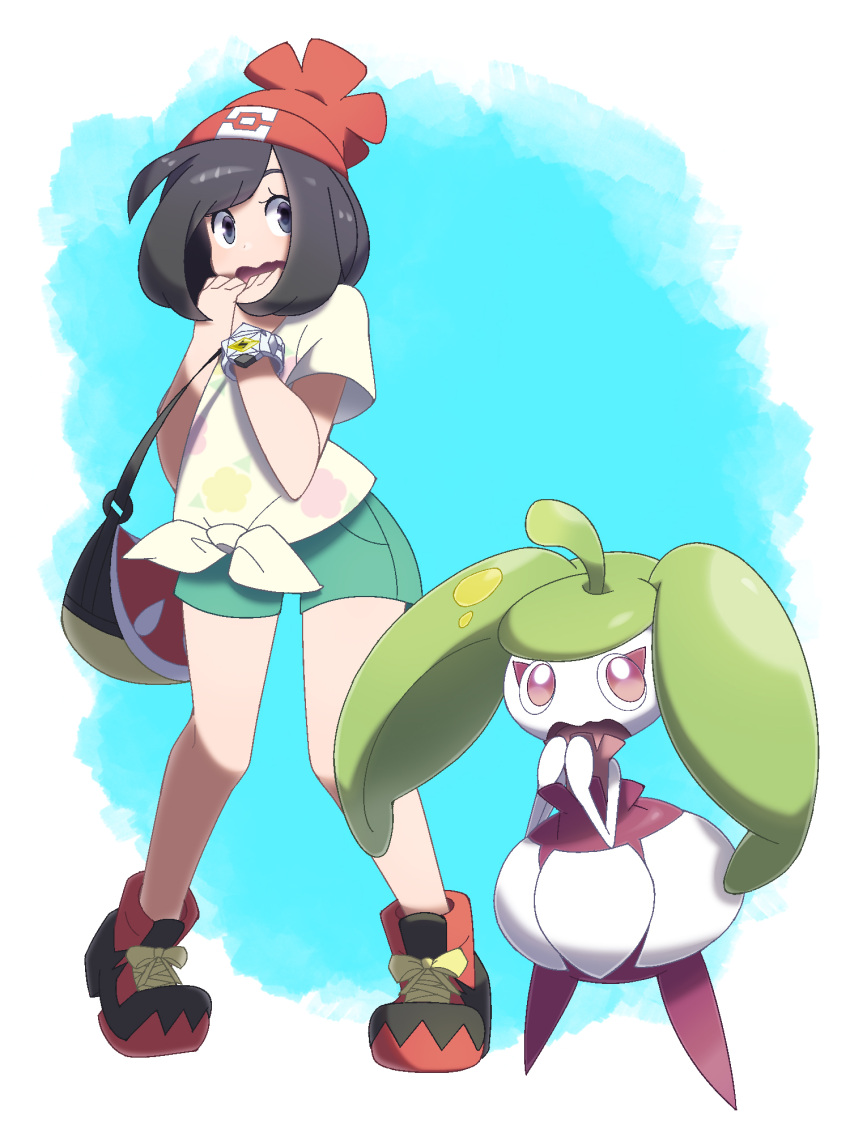 1girl bag bangs bare_arms beanie black_hair blue_eyes bob_cut bracelet eyelashes floral_print full_body gen_7_pokemon green_shorts handbag hands_up hat highres jewelry legs_apart midoko mizuki_(pokemon) open_mouth pocket poke_ball_theme pokemon pokemon_(creature) pokemon_(game) pokemon_sm red_hat shirt shoes short_hair short_sleeves shorts sneakers standing steenee swept_bangs t-shirt tied_shirt tiptoes yellow_shirt z-ring