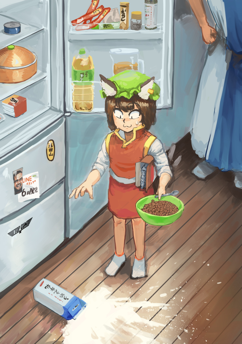 2girls :3 absurdres bottle brown_eyes brown_hair cereal chanta_(ayatakaoisii) chen closed_mouth commentary_request eyebrows_visible_through_hair failure green_hat hair_ornament hands_on_hips hat highres holding jack_torrance_(the_shining) looking_down milk_carton mob_cap multiple_girls red_skirt red_vest refrigerator shirt short_hair skirt slit_pupils solo_focus spill spilled_milk spoon standing sweatdrop tabard the_shining touhou vest white_legwear white_shirt yakumo_ran