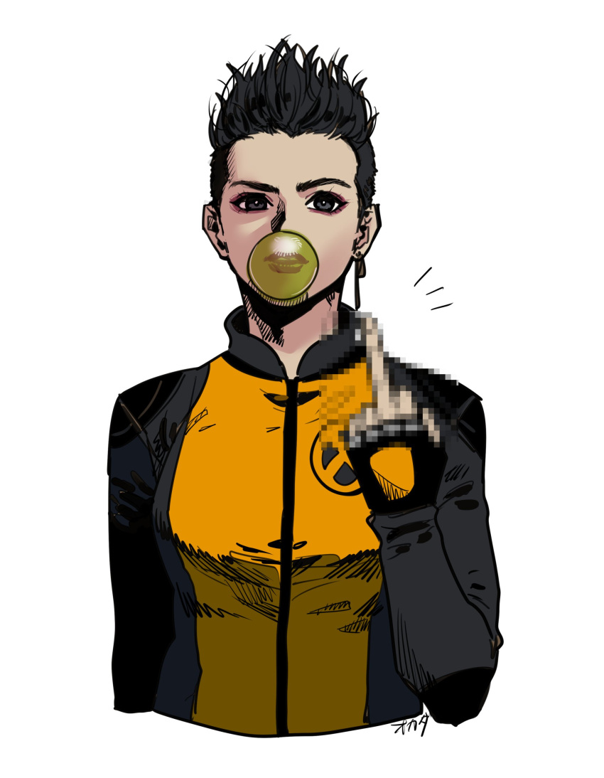 1girl absurdres black_eyes black_hair breasts bubble_blowing censored chewing_gum deadpool_2 highres jewelry lipstick makeup marvel medium_breasts middle_finger mosaic_censoring negasonic_teenage_warhead okada_(hoooojicha) red_lipstick short_hair signature single_earring solo upper_body x-men
