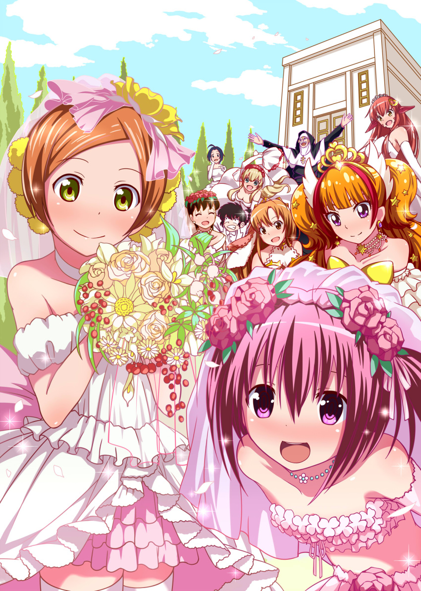 1boy 6+girls ahoge black_hair blonde_hair blue_eyes blue_hair braid brown_eyes character_request choker clenched_teeth commentary_request copyright_request crossover dress earrings elbow_gloves formal gloves green_eyes green_hair hair_ornament hairclip highres jewelry lamia long_hair miia_(monster_musume) monaral-jiro monster_girl monster_musume_no_iru_nichijou multiple_crossover multiple_girls necklace nun orange_hair pink_eyes pink_hair pointy_ears ranma_1/2 redhead saotome_ranma single_braid smile suit teeth violet_eyes wedding_dress white_choker white_dress white_gloves white_suit yellow_eyes
