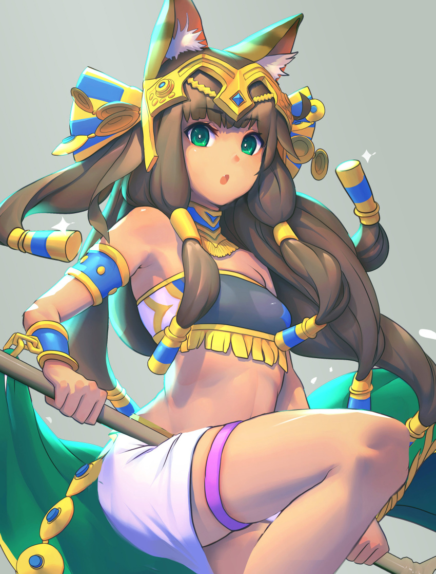 1girl absurdres animal_ears bandeau bangs bastet_(p&d) black_hair bracelet cat_ears cat_tail chains chromatic_aberration dark_skin egyptian eyebrows_visible_through_hair fang green_eyes hair_tubes headphones highres jewelry knee_up long_hair necklace nene_(taiwan) open_mouth puzzle_&_dragons solo staff tail