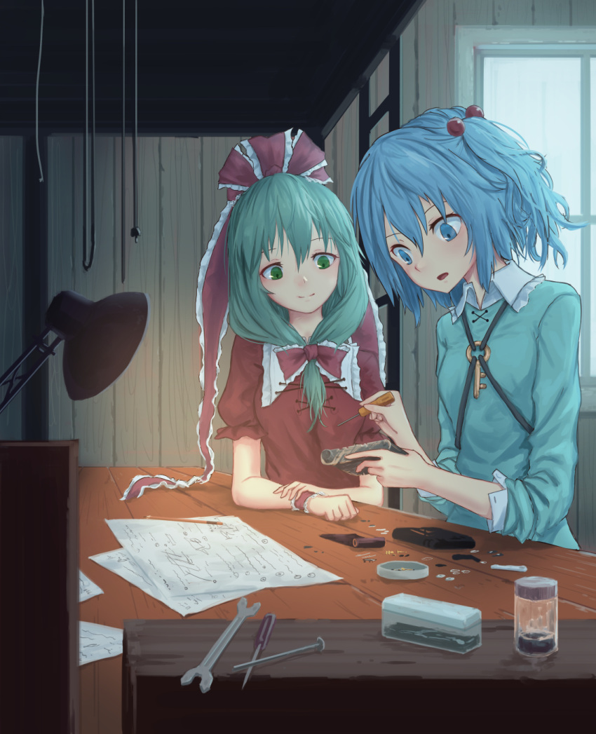 2girls blue_dress blue_eyes blue_hair bow breasts camera commentary_request container desk_lamp dress frilled_ribbon frills green_eyes green_hair hair_between_eyes hair_bobbles hair_bow hair_ornament hair_ribbon head_tilt highres holding holding_camera holding_screwdriver indoors kagiyama_hina kawashiro_nitori key lamp long_hair looking_down multiple_girls nail no_hat no_headwear open_mouth paper puffy_short_sleeves puffy_sleeves red_bow red_dress red_ribbon ribbon roke_(taikodon) screwdriver short_hair short_sleeves small_breasts table touhou two_side_up wing_collar wrench wrist_cuffs
