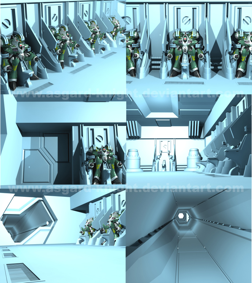 3d alien asgard-knight choujikuu_yousai_macross door energy_cannon hallway hangar hatch highres macross mecha meltrandi missile_pod power_armor production_art queadluun-rau realistic science_fiction spacecraft_interior zentlardy_alphabet zentradi