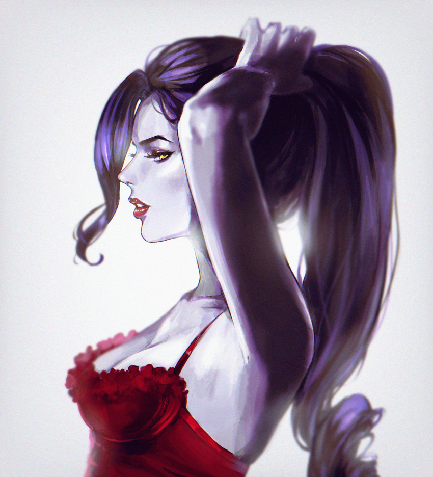 1girl absurdres adjusting_hair arm_up armpits breasts bustier cleavage commentary hand_in_hair high_ponytail highres lingerie looking_to_the_side nvalkyrja overwatch ponytail profile purple_skin red_lips tying_hair underwear widowmaker_(overwatch) yellow_eyes