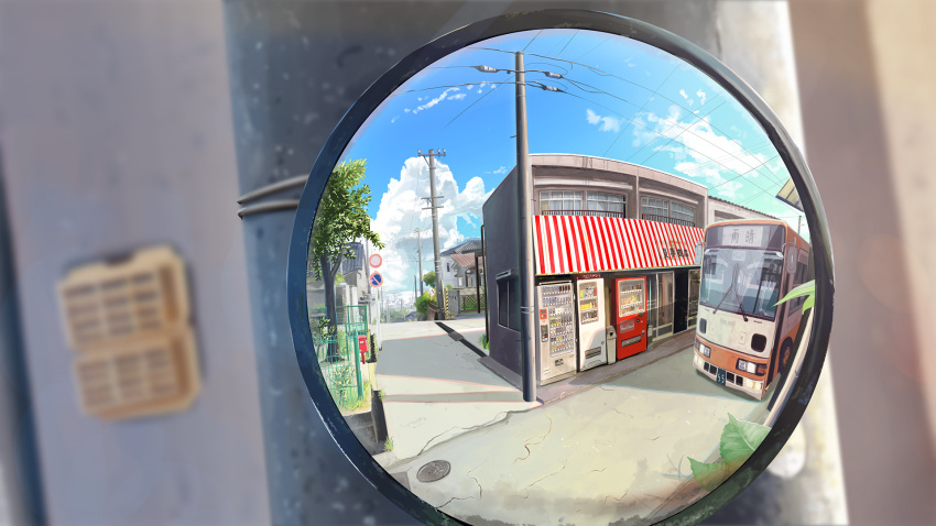 banishment blue_sky blurry blurry_background bus clouds fisheye ground_vehicle highres motor_vehicle no_humans original outdoors power_lines reflection road scenery sky street summer telephone_pole traffic_mirror tree vending_machine