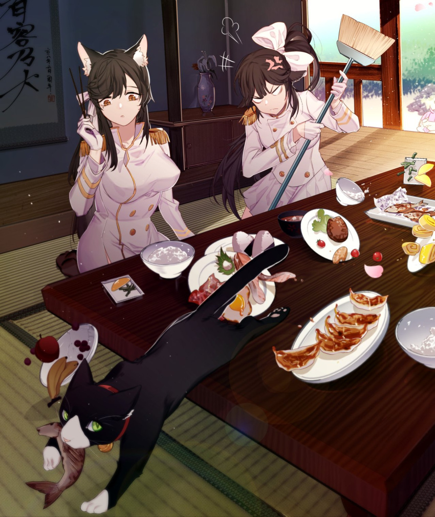 2girls anger_vein angry animal_ears apple artist_request atago_(azur_lane) azur_lane banana black_hair breasts broom cat chair chopsticks dishes food food_in_mouth food_theft fruit gloves highres long_hair meat military military_uniform multiple_girls onigiri ponytail rice_bowl takao_(azur_lane) uniform vase