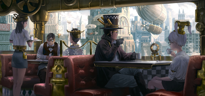 2boys 3girls aircraft airship black_hair black_hat booth brown_hair cafe clock clock_tower closed_mouth goggles hat indoors looking_at_viewer multiple_boys multiple_girls noba original propeller scenery short_hair sitting steampunk table top_hat tower