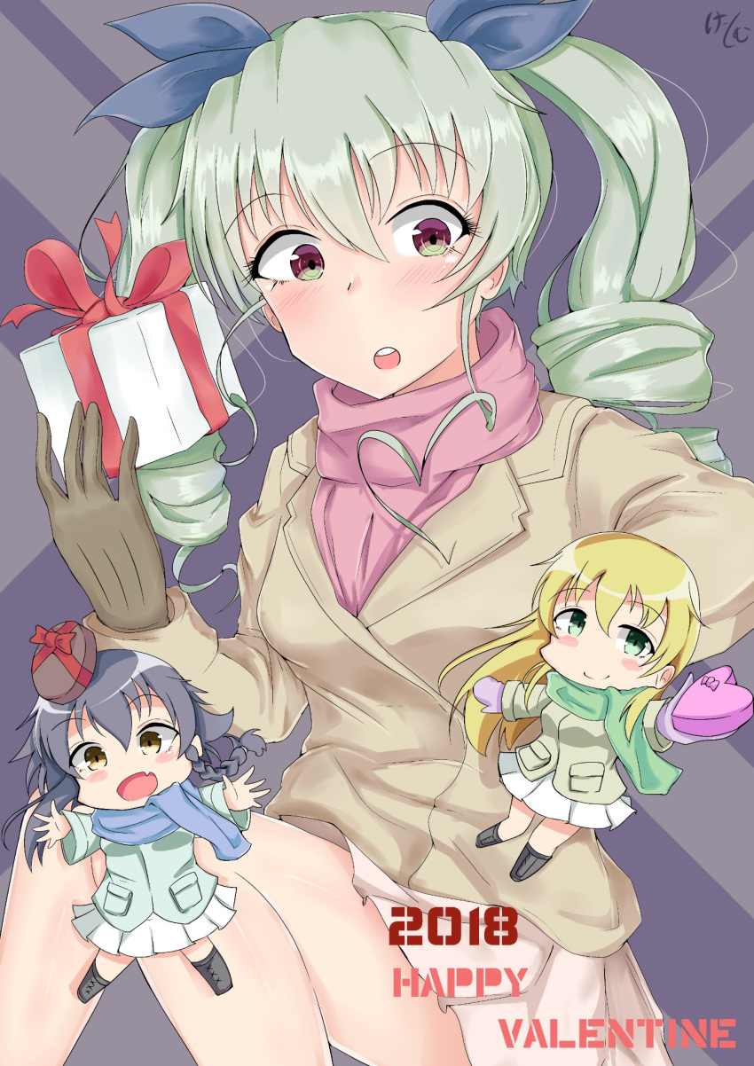 2018 3girls anchovy antyobi0720 artist_name bangs black_footwear black_hair black_ribbon blonde_hair blue_scarf blush blush_stickers boots braid brown_coat brown_eyes brown_gloves carpaccio casual chibi closed_mouth coat commentary drill_hair english eyebrows_visible_through_hair fang gift girls_und_panzer gloves green_coat green_eyes green_hair green_skirt hair_ribbon happy_valentine highres holding holding_gift long_hair long_sleeves looking_at_viewer miniskirt mittens multiple_girls pepperoni_(girls_und_panzer) pink_scarf pleated_skirt red_eyes red_ribbon ribbon scarf side_braid signature skirt smile standing twin_drills twintails valentine white_skirt winter_clothes