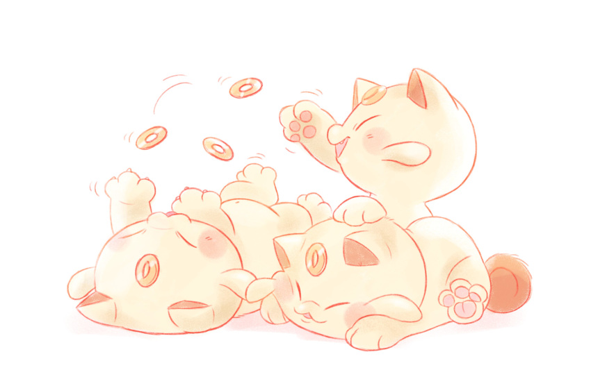 :3 animal_ears blush cat cat_ears cat_focus cat_tail closed_eyes coin commentary creature doodlelotl english_commentary fangs faux_traditional_media full_body gen_2_pokemon highres kitten koonya lying multiple_cats navel no_humans on_back on_stomach open_mouth paws playing pokemon pokemon_(creature) pokemon_gsc_beta sitting tail whiskers white_background white_cat