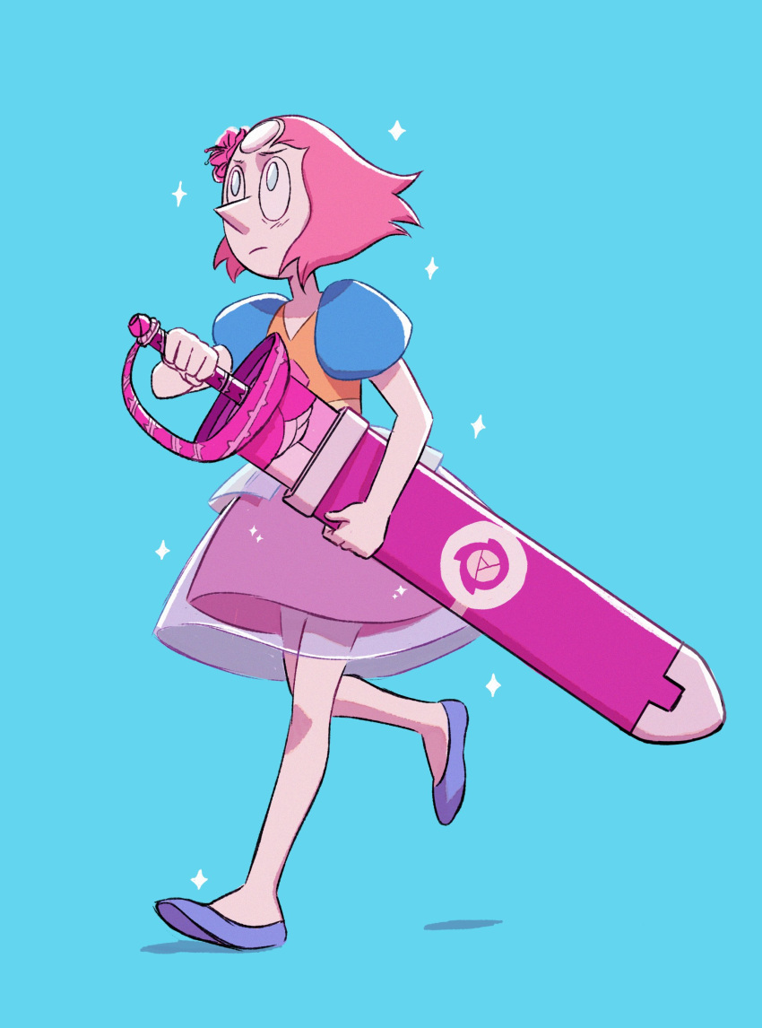1girl absurdres blue_background blue_eyes closed_mouth forehead_jewel full_body highres leiana_nitura pearl_(steven_universe) pointy_nose puffy_short_sleeves puffy_sleeves ribbon see-through short_sleeves simple_background spoilers steven_universe sword walking weapon white_skin