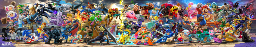 6+boys 6+girls absolutely_everyone absurdres angel_wings arm_cannon bayonetta bayonetta_(character) bayonetta_2 bowser bowser_jr. cape captain_falcon charizard chiko_(mario) cloud_strife copyright_name dark_pit diddy_kong dog_(duck_hunt) donkey_kong donkey_kong_(series) doubutsu_no_mori dr._mario dual_persona duck_(duck_hunt) duck_tales electricity epic everyone f-zero falco_lombardi fang final_fantasy final_fantasy_vii fire_emblem fire_emblem:_fuuin_no_tsurugi fire_emblem:_kakusei fire_emblem:_monshou_no_nazo fire_emblem:_souen_no_kiseki fire_emblem_if flying flying_kick fox_mccloud game_&_watch ganondorf gen_1_pokemon gen_2_pokemon gen_4_pokemon gen_6_pokemon glasses greninja hammer hat headband helmet highres huge_filesize ice_climber ice_climbers ike incredibly_absurdres inkling ivysaur jigglypuff kicking kid_icarus king_dedede kirby kirby_(series) link long_image lucario lucas luigi mario mario_(series) marth meta_knight metal_gear_(series) metal_gear_solid metroid mii_(nintendo) monster mother_(game) mother_2 mother_3 mr._game_&_watch multiple_boys multiple_girls multiple_persona my_unit_(fire_emblem:_kakusei) my_unit_(fire_emblem_if) nana_(ice_climber) ness nintendo official_art pac-man pac-man_(game) pichu pikachu pit_(kid_icarus) pokemon popo_(ice_climber) princess_daisy princess_peach princess_zelda r.o.b red_(pokemon) ridley rockman rockman_(character) rockman_(classic) rosetta_(mario) roy_(fire_emblem) ryuu_(street_fighter) samus_aran sheik shulk solid_snake sonic sonic_the_hedgehog splatoon squirtle star_fox street_fighter super_mario_bros. super_smash_bros. sword the_legend_of_zelda the_legend_of_zelda:_breath_of_the_wild toon_link varia_suit villager_(doubutsu_no_mori) wario warioware weapon wide_image wii_fit wii_fit_trainer wings wolf_o'donnell xenoblade_(series) xenoblade_1 yoshi young_link zero_suit
