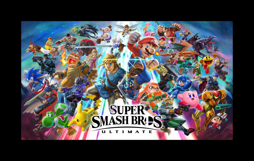 absolutely_everyone absurdres angel_wings bayonetta bayonetta_(character) blue_background bowser captain_falcon cloud_strife diddy_kong donkey_kong donkey_kong_(series) dougi egg everyone f-zero final_fantasy final_fantasy_vii fire_emblem fox_mccloud ganondorf gen_1_pokemon gun highres ice_climber ice_climbers ike inkling kid_icarus kirby kirby_(series) link logo looking_at_viewer mario mario_(series) marth metal_gear_(series) metal_gear_solid metroid monster multiple_persona nintendo official_art pac-man pac-man_(game) pikachu pit_(kid_icarus) pokemon pokemon_(creature) pokemon_trainer princess_daisy princess_peach princess_zelda red_(pokemon) ridley ryuu_(street_fighter) samus_aran shulk smash_ball solid_snake sonic sonic_the_hedgehog spiky_hair splatoon star_fox street_fighter super_mario_bros. super_smash_bros. sword the_legend_of_zelda the_legend_of_zelda:_breath_of_the_wild toon_link weapon wings wolf_o'donnell xenoblade_(series) xenoblade_1 yoshi young_link