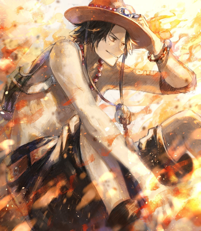 backpack bag black_eyes black_shorts boots bracelet brown_eyes brown_footwear fire freckles grin hat highres jewelry on_ground one_piece portgas_d_ace shorts sitting smile tsugutoku yellow_background