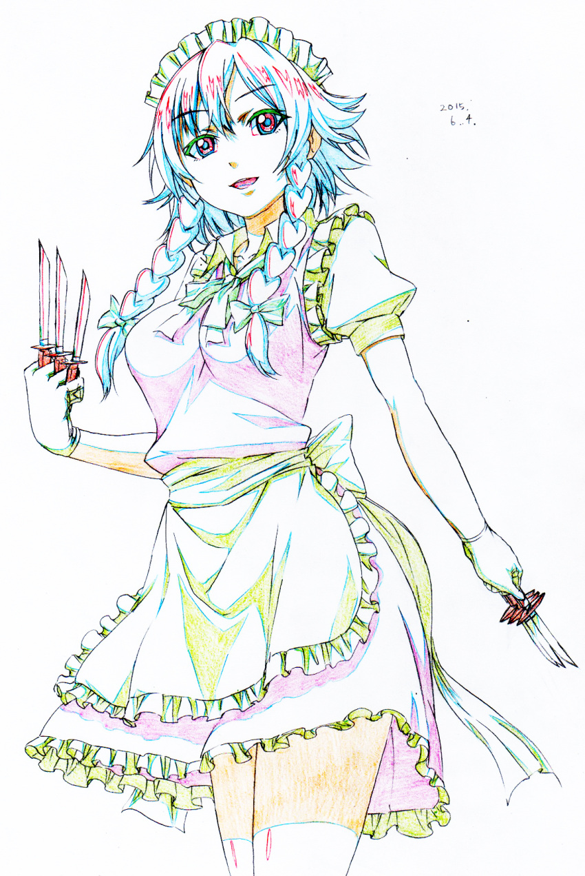 1girl :d apron bow braid colored_pencil_(medium) dated eyebrows_visible_through_hair graphite_(medium) green_bow hair_bow highres holding holding_knife izayoi_sakuya knife looking_at_viewer maid_apron maid_headdress open_mouth pink_vest pink_x puffy_short_sleeves puffy_sleeves red_eyes short_sleeves simple_background smile solo standing thigh-highs touhou traditional_media twin_braids vest waist_apron white_background white_legwear