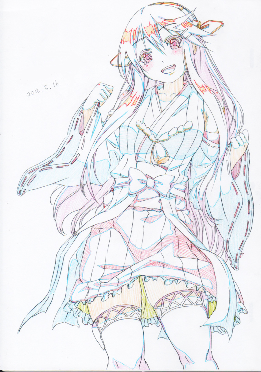 1girl :d bow colored_pencil_(medium) cowboy_shot dated graphite_(medium) hairband haruna_(kantai_collection) headgear highres japanese_clothes kantai_collection limited_palette long_hair long_sleeves looking_at_viewer open_mouth pink_x pleated_skirt red_eyes sash skirt smile solo standing thigh-highs traditional_media white_legwear wide_sleeves zettai_ryouiki