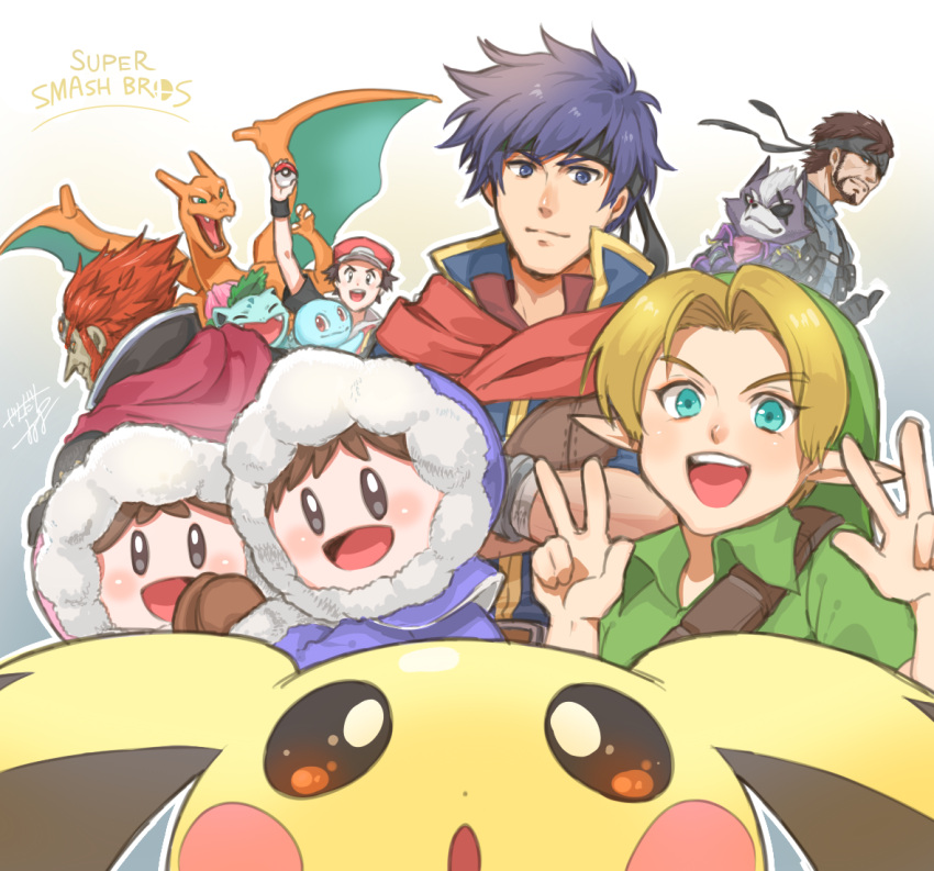 1girl 6+boys bandanna beard black_eyes blonde_hair blue_eyes blue_hair brown_hair charizard closed_mouth commentary creatures_(company) eyebrows_visible_through_hair facial_hair fire_emblem fire_emblem:_souen_no_kiseki game_freak ganondorf gen_1_pokemon gen_2_pokemon green_eyes green_tunic ice_climber ice_climbers ike intelligent_systems ivysaur jandara_rin konami looking_at_viewer metal_gear_(series) metal_gear_solid multiple_boys nana_(ice_climber) nintendo_ead open_mouth pichu pokemon pokemon_(creature) pokemon_frlg pokemon_gsc pokemon_hgss pokemon_rgby pokemon_trainer popo_(ice_climber) red_(pokemon) red_eyes redhead sideburns smile solid_snake sora_(company) squirtle star_fox super_smash_bros. super_smash_bros._ultimate super_smash_bros_brawl super_smash_bros_crusade super_smash_bros_melee the_legend_of_zelda the_legend_of_zelda:_ocarina_of_time thumbs_up tunic v_v wolf_o'donnell young_link