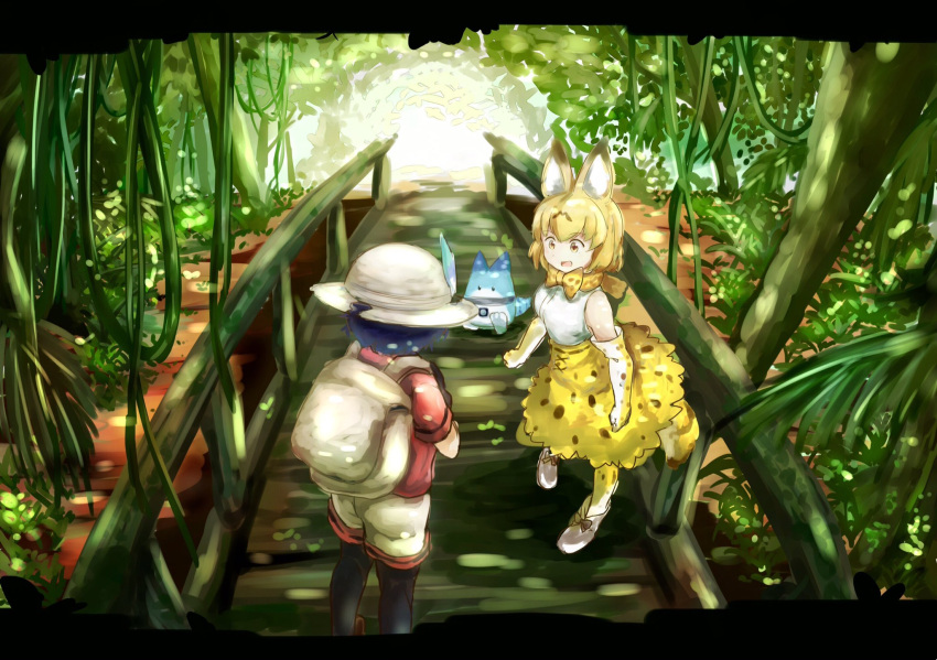 2girls :d animal_ears backpack bag black_gloves black_hair black_legwear blonde_hair bow bowtie day elbow_gloves gloves hat_feather high_heels highres jungle kaban_(kemono_friends) kemono_friends looking_at_another lucky_beast_(kemono_friends) multicolored multicolored_clothes multicolored_gloves multiple_girls nature open_mouth outdoors pantyhose print_gloves print_legwear print_neckwear print_skirt red_shirt serval_(kemono_friends) serval_ears serval_print shirt shoe_bow shoes short_hair short_sleeves shorts skirt sleeveless sleeveless_shirt smile striped_sleeves tamiku_(shisyamo609) white_gloves yellow_eyes yellow_gloves yellow_legwear yellow_neckwear yellow_skirt