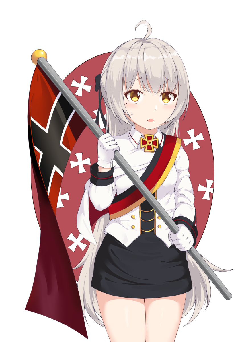 1girl absurdres azur_lane cai_de_xin cosplay flag german_flag gloves hair_ornament highres holding holding_flag iron_cross long_hair medal mole open_mouth silver_hair skirt solo sweatdrop tirpitz_(azur_lane) white_gloves yellow_eyes z46_(azur_lane)
