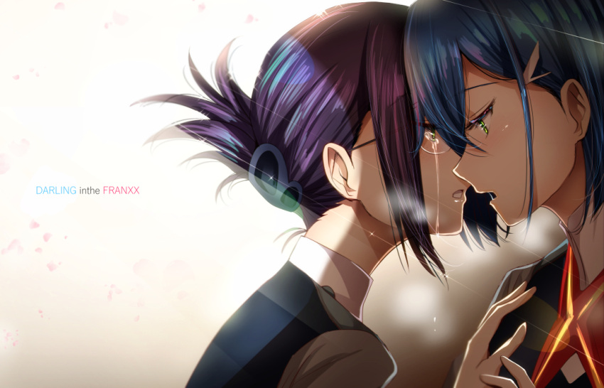 2girls blue_hair commentary_request crying crying_with_eyes_open darling_in_the_franxx folded_hair glasses green_eyes hair_ornament hairclip hand_on_another's_chest ichigo_(darling_in_the_franxx) ikuno_(darling_in_the_franxx) multiple_girls open_mouth short_hair tears uniform yamada_naoko_(hideko1227) yuri