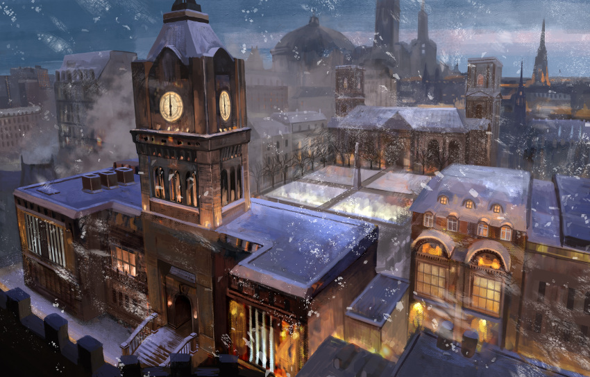 chimney clock clock_tower highres no_humans noasa original outdoors railing scenery snow snowing stairs tower winter