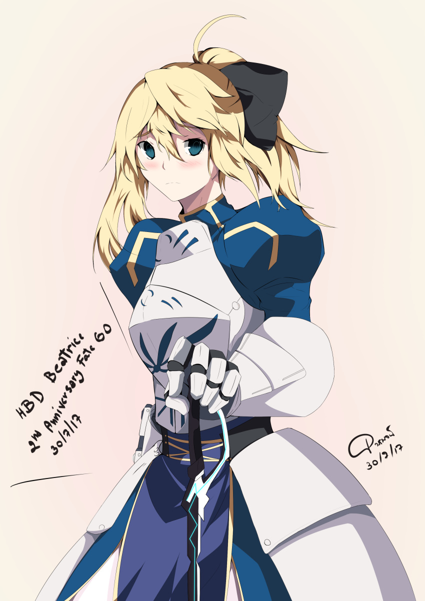 1girl absurdres armor armored_dress artoria_pendragon_(all) beatrice_waltrud_von_kircheisen blonde_hair breasts cosplay crossover dated dies_irae fate/stay_night fate_(series) gauntlets green_eyes highres medium_breasts pornpojbeatrice saber saber_(cosplay) solo weapon
