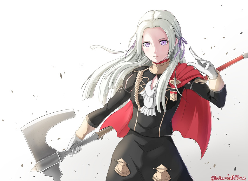 1girl axe blonde_hair blue_eyes cape cravat edelgard_von_hresvelgr_(fire_emblem) fire_emblem fire_emblem:_fuukasetsugetsu gloves grimmelsdathird hair_ornament highres long_hair looking_at_viewer mole mole_under_mouth simple_background smile solo uniform weapon white_background