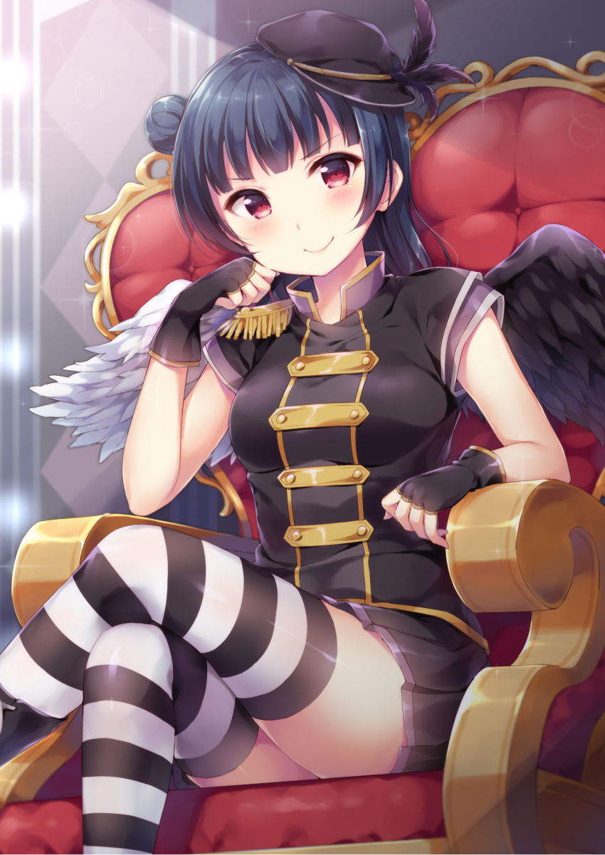 >:) 1girl asymmetrical_wings bangs black_feathers black_gloves black_hat black_skirt black_wing blue_hair blush chin_rest commentary_request epaulettes fingerless_gloves gloves hat hat_feather hazuki_(sutasuta) highres legs_crossed looking_at_viewer love_live! love_live!_school_idol_festival love_live!_sunshine!! miniskirt pleated_skirt red_eyes short_sleeves side_bun sitting skirt solo striped striped_legwear thigh-highs throne tsushima_yoshiko white_wing wings
