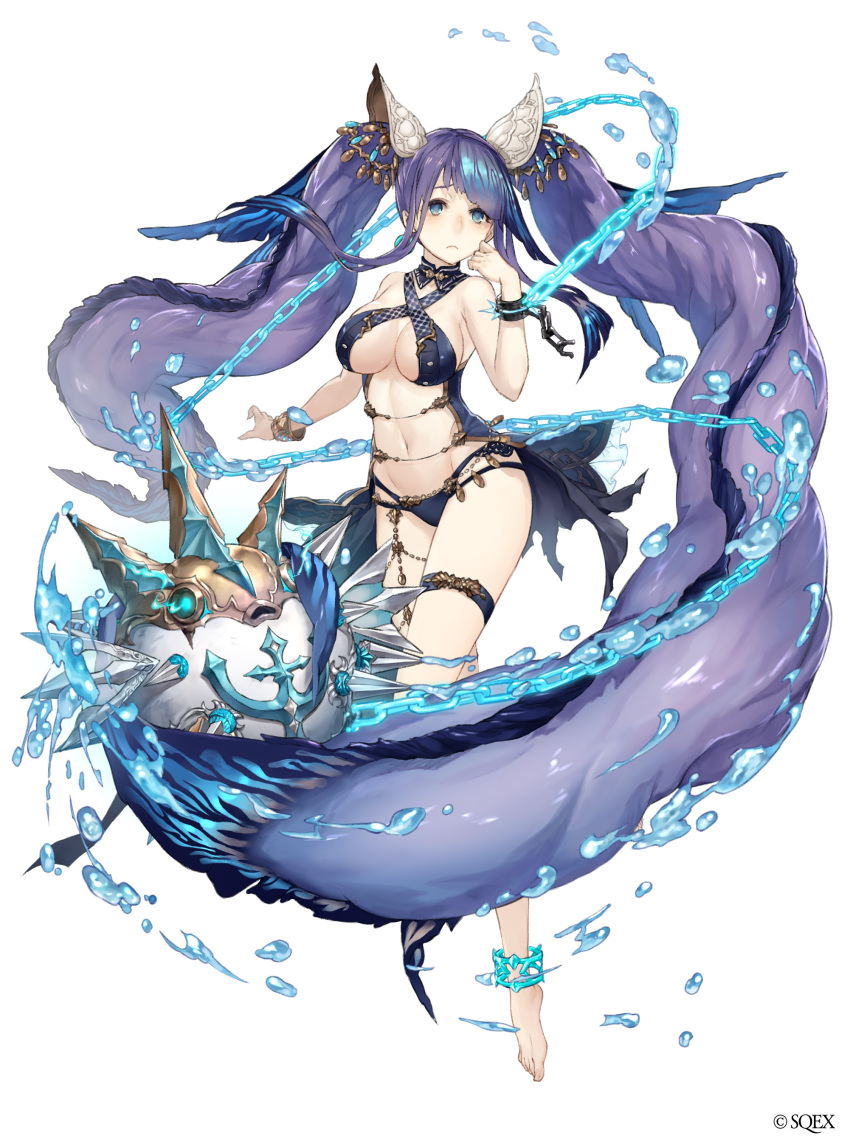 1girl absurdres anchor_symbol anklet aqua_eyes barefoot bracelet chains cuffs fins flail frown full_body hand_on_own_cheek highres jewelry ji_no long_hair navel ningyo_hime_(sinoalice) official_art puffer_fish purple_hair revealing_clothes shackles sinoalice solo thigh_strap very_long_hair water weapon white_background