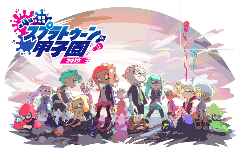 5girls 6+boys absurdres afro back crossed_arms dark_skin hand_on_own_face hands_together highres inkling legs_crossed lens_flare looking_at_viewer looking_back midair multiple_boys multiple_girls necktie nintendo octoling official_art open_collar pantyhose pointy_ears school_uniform serious shoes sitting skirt sleeves_rolled_up sneakers splatoon splatoon_2 standing tentacle_hair twintails