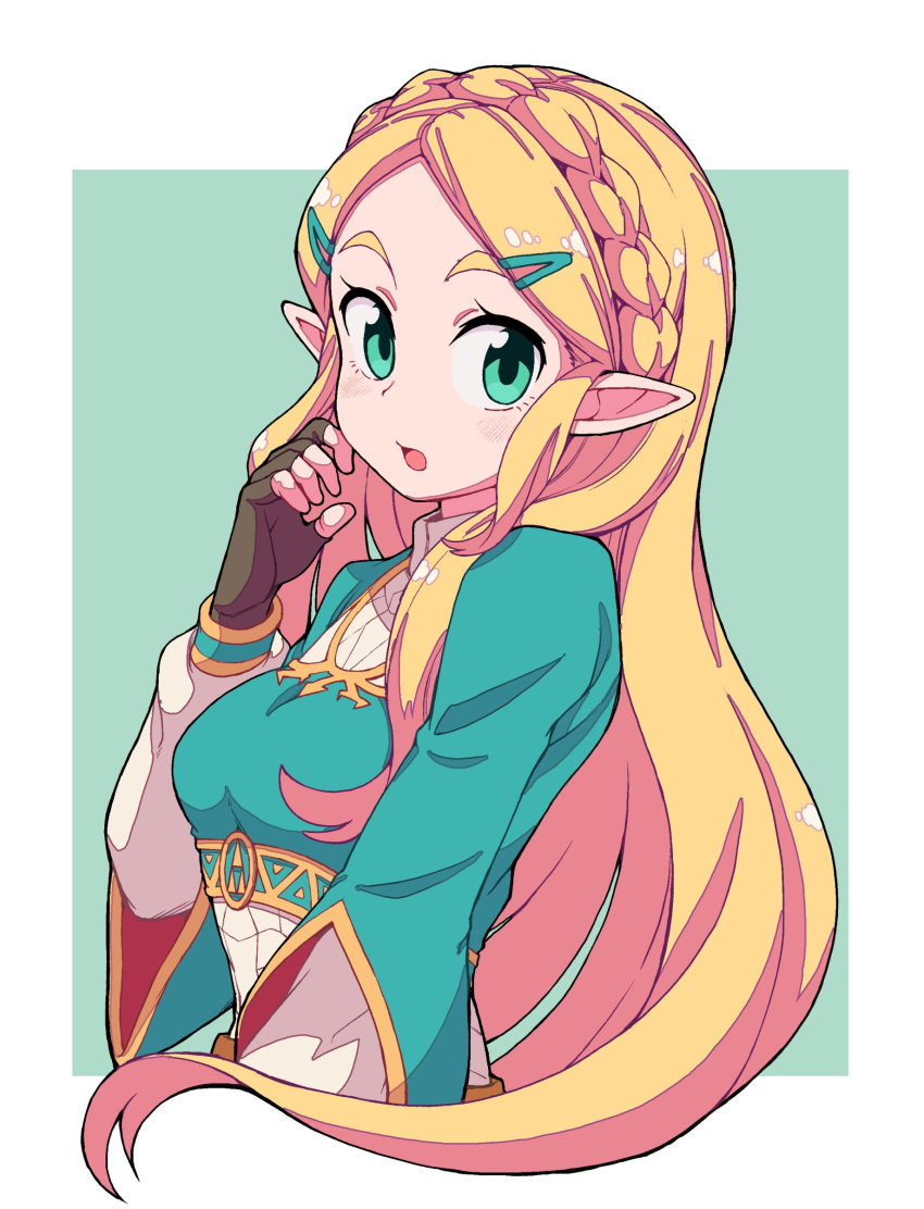 1girl :o absurdres aqua_background aqua_eyes aqua_hairclip aqua_shirt blonde_hair blush border braid brown_gloves fingerless_gloves gloves hair_ornament hairclip highres long_hair long_sleeves looking_at_viewer nazonazo_(nazonazot) pointy_ears princess_zelda shirt solo the_legend_of_zelda the_legend_of_zelda:_breath_of_the_wild triforce undershirt white_border white_shirt white_sleeves