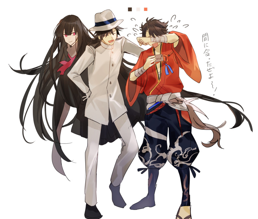1girl 2boys ^_^ black_hair brown_hair closed_eyes crossover fate/grand_order fate_(series) floating gloves hat highres japanese_clothes koha-ace multiple_boys mutsu-no-kami_yoshiyuki neckerchief open_mouth oryuu_(fate) red_eyes sakamoto_ryouma_(fate) sandals smile tears touken_ranbu translation_request tsugutoku white_gloves wiping_tears