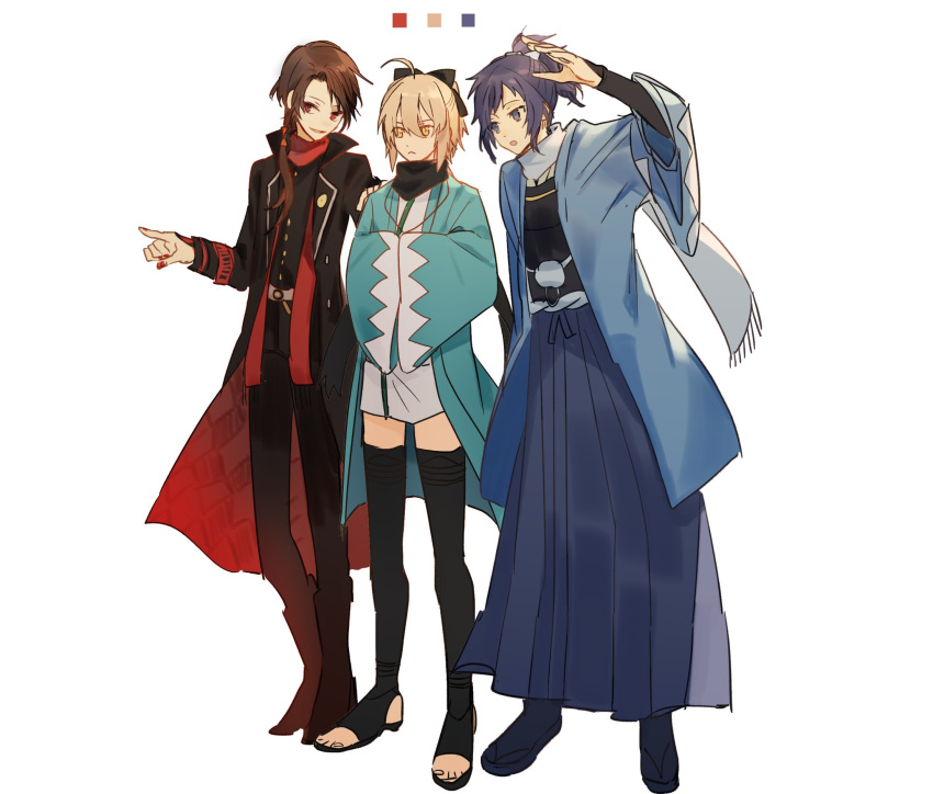 1girl 2boys ahoge black_hair black_legwear blonde_hair blue_eyes bow brown_hair coat crossover fate/grand_order fate_(series) hair_bow hakama hand_on_another's_shoulder hands_in_sleeves haori highres japanese_clothes kashuu_kiyomitsu kimono koha-ace multiple_boys nail_polish okita_souji_(fate) pointing ponytail red_eyes red_nails sandals scarf shinsengumi short_kimono smile tabi thigh-highs touken_ranbu tsugutoku yamato-no-kami_yasusada yellow_eyes
