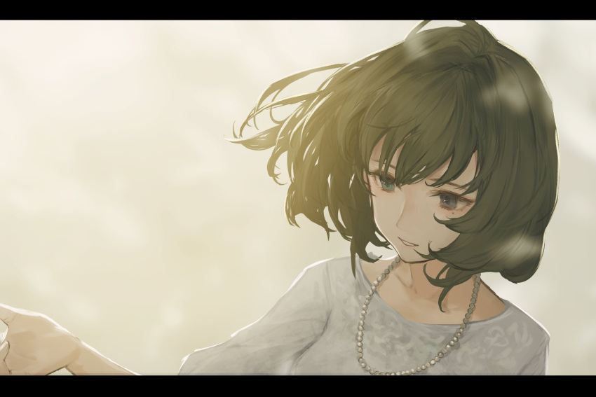 1girl backlighting blouse blue_eyes blurry blurry_background brown_hair collarbone green_eyes heterochromia highres idolmaster idolmaster_cinderella_girls jewelry kouzuki_kei mole mole_under_eye necklace outstretched_arm pearl_necklace short_hair smile solo takagaki_kaede upper_body