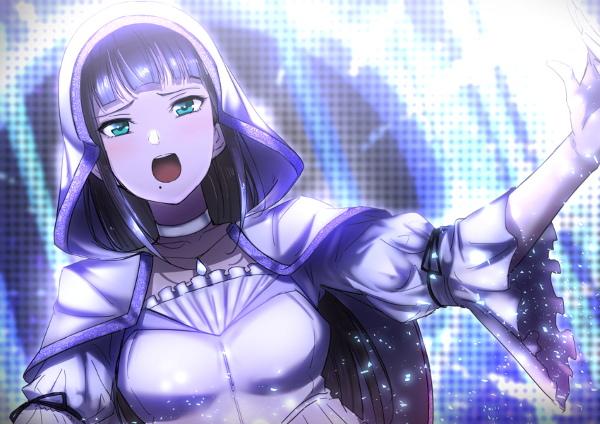 1girl :o aqua_eyes bangs black_hair cape choker collarbone habit highres jewelry kurosawa_dia long_hair love_live! love_live!_sunshine!! mole mole_under_mouth necklace otsumami_(otsu-mugi) outstretched_arms round_teeth solo spread_arms teeth tied_sleeves upper_body upper_teeth white_choker