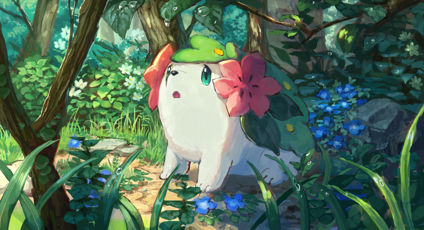 bush day dew_drop flower forest gen_4_pokemon grass highres nature no_humans outdoors pippi_(pixiv_1922055) pokemon pokemon_(creature) purple_flower shaymin tree water_drop white_flower
