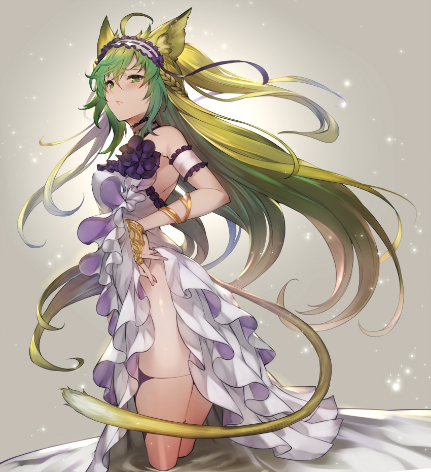 1girl ahoge alternate_costume animal_ears armlet atalanta_(fate) bare_shoulders blush bracelet cat_ears cat_tail choker closed_mouth commentary dress fate/grand_order fate_(series) floating_lights frills from_side gradient_hair green_eyes green_hair hair_ornament highres jewelry kakage legs long_hair multicolored_hair skirt skirt_lift tail thighs two-tone_hair white_dress