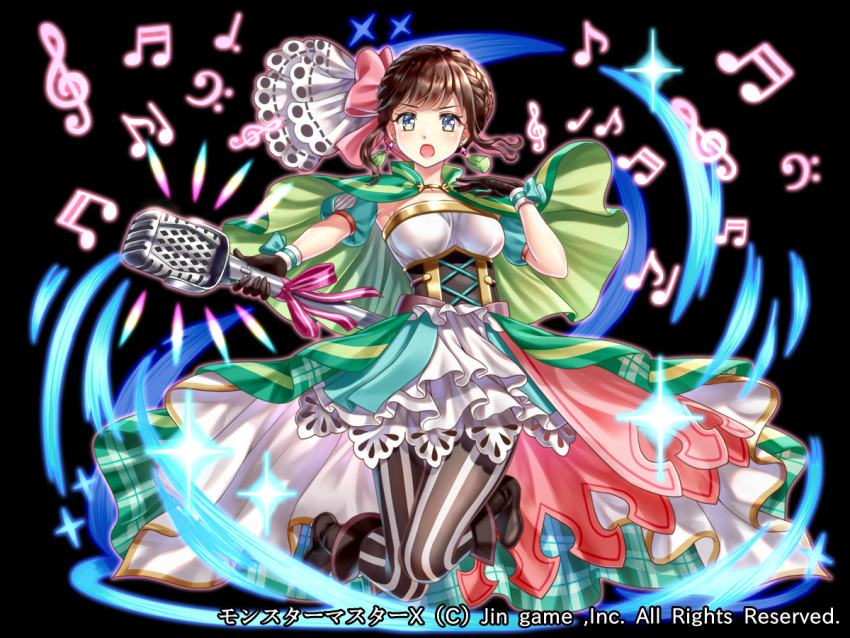 :o bass_clef beamed_sixteenth_notes black_background black_footwear black_gloves blue_eyes blush boots bow braid brown_hair cape copyright_request detached_sleeves earrings eighth_note fantasy full_body g_clef gloves green_cape grey_legwear hair_bow hakuda_tofu hand_up holding holding_microphone jewelry looking_at_viewer microphone musical_note official_art pink_bow puffy_short_sleeves puffy_sleeves quarter_note short_sleeves sixteenth_note striped striped_legwear watermark