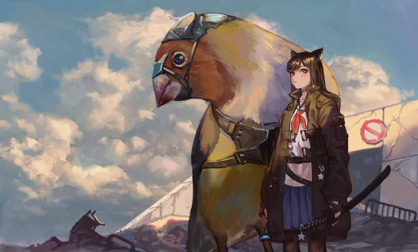 1girl absurdres animal_ears black_eyes black_gloves black_hair black_legwear blue_skirt cat_ears clouds cloudy_sky creature fingerless_gloves gloves green_jacket highres jacket jewelry jun_(5455454541) katana long_hair looking_away miniskirt neck_ring original pantyhose scenery skirt sky sword uniform weapon