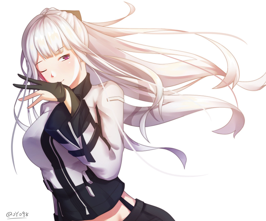 1girl absurdres ak-12_(girls_frontline) bangs biting black_gloves black_ribbon blush braid breasts eyebrows_visible_through_hair floating_hair french_braid girls_frontline glove_biting gloves highres jacket long_hair long_sleeves looking_at_viewer medium_breasts midriff one_eye_closed oyo98 pants partly_fingerless_gloves ribbon sidelocks silver_hair simple_background smile solo twitter_username very_long_hair violet_eyes white_background